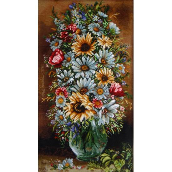 تابلوفرش گل و گلدان طولی برجسته