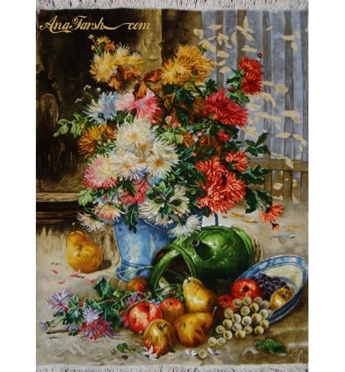 تابلوفرش گل داوودی و میوه برجسته