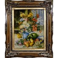 تابلوفرش گل داوودی و میوه برجسته کد 10052