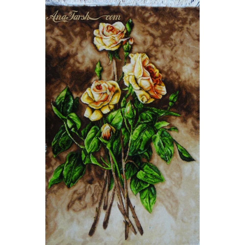 تابلوفرش دستباف گل رز سه شاخه برجسته