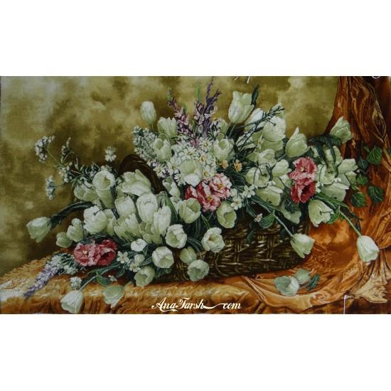 تابلوفرش سبد گل لاله