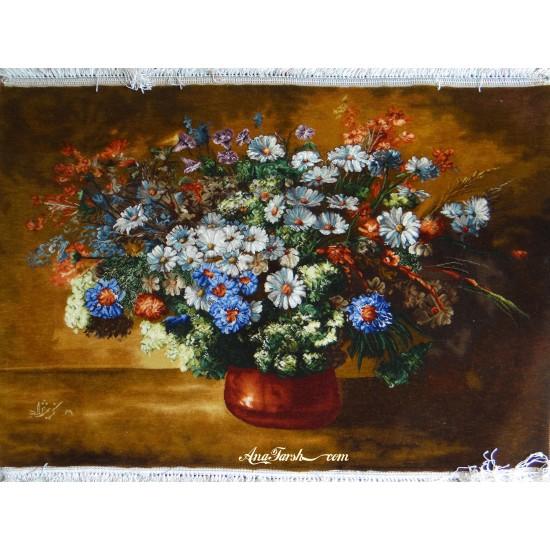 تابلوفرش گل و گلدان مسی