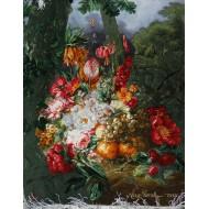 تابلوفرش سبد گل و میوه طولی