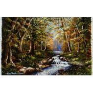 تابلوفرش منظره جنگل و رودخانه پائیز