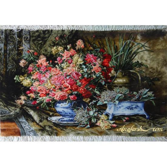 تابلوفرش گل و گلدان