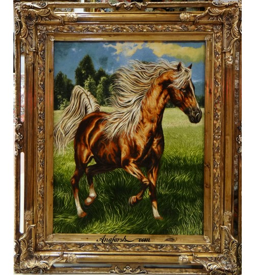 تابلو فرش اسب وحشی