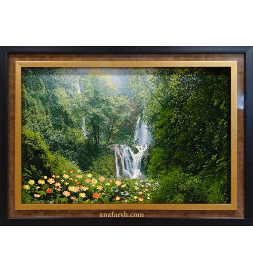 forest and waterfall view's tableau carpets