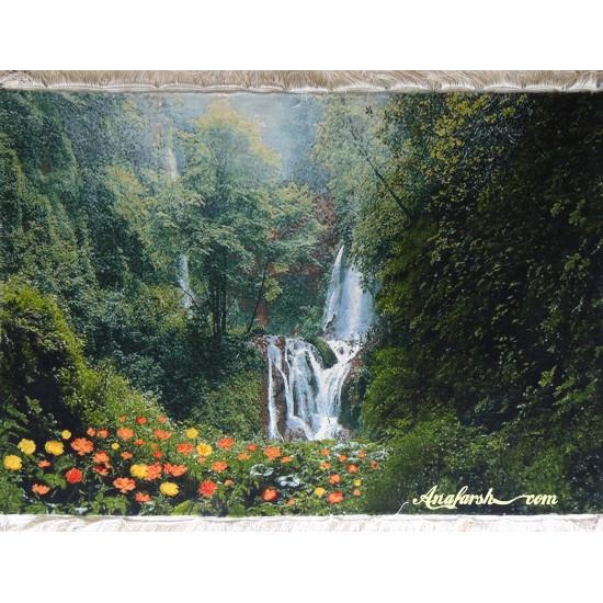تابلوفرش منظره جنگل و آبشار