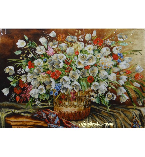 tulip flower handwoven tableau