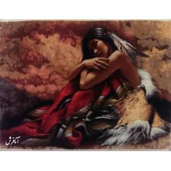 تابلو فرش دختر سرخ پوست
