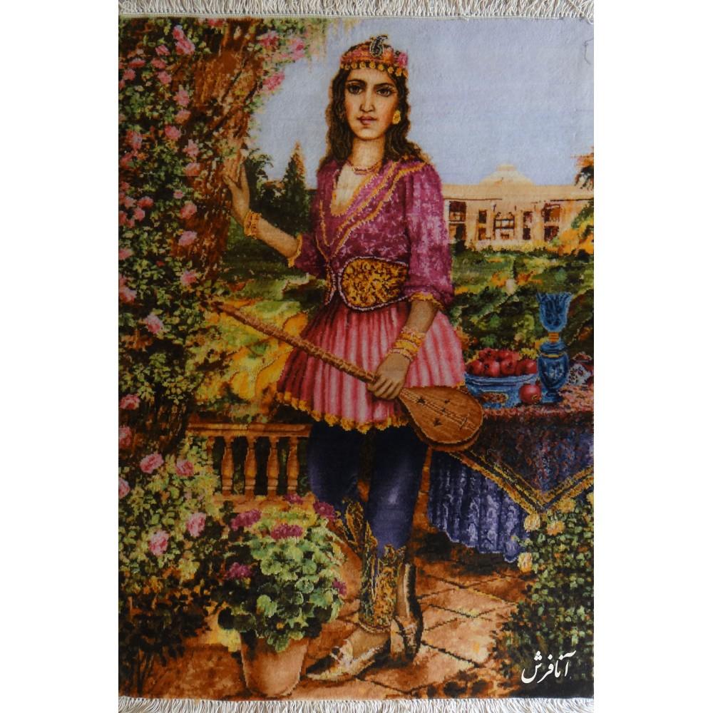 تابلو فرش دستباف دختر قاجار تبریز