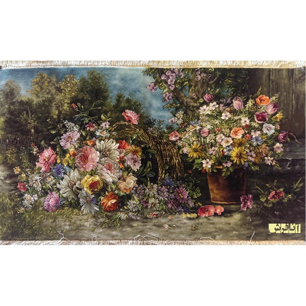 تابلوفرش دستباف سبد گل