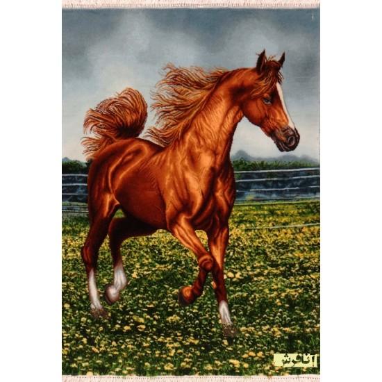 تابلو فرش اسب قهوه ای