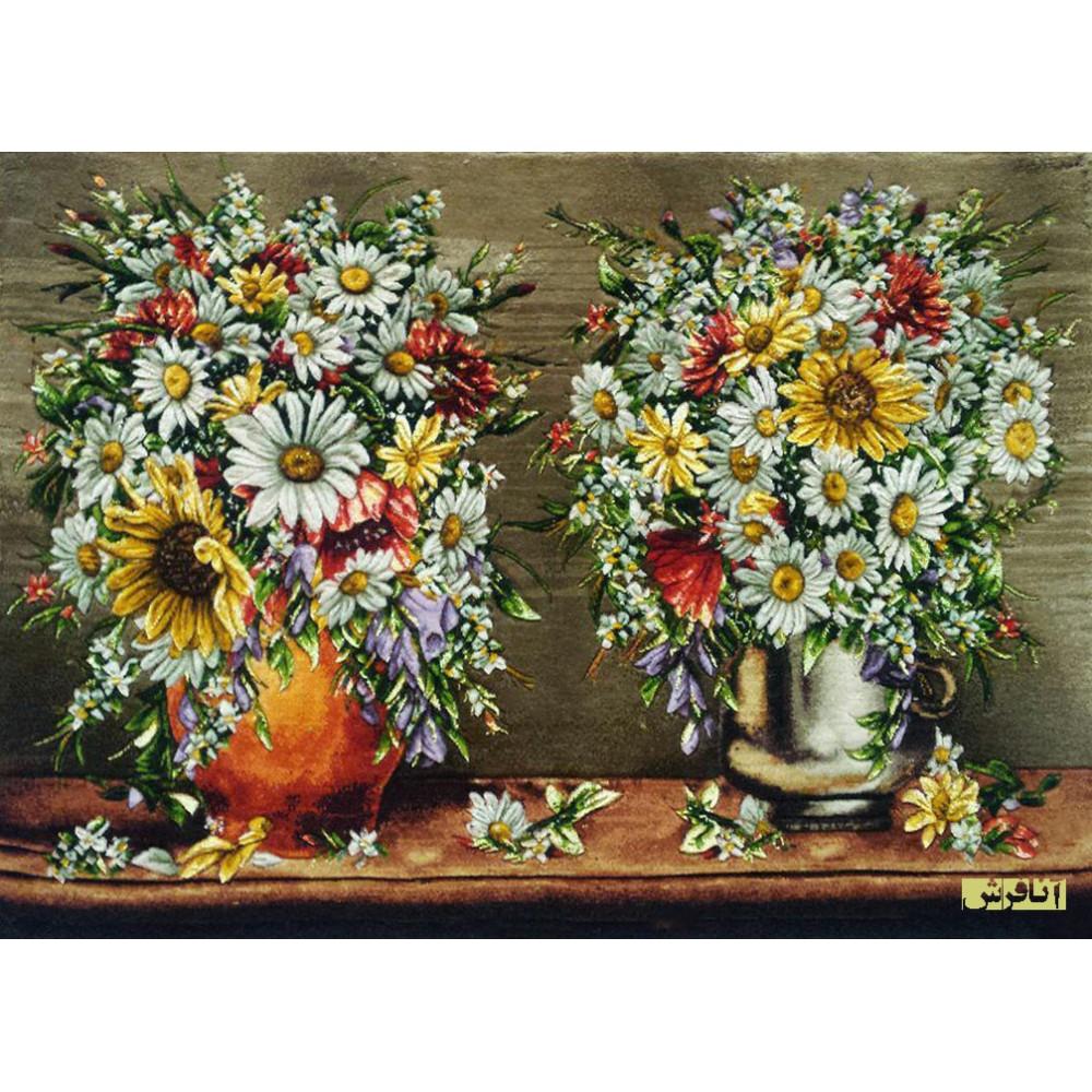 تابلوفرش دستباف دو گلدان