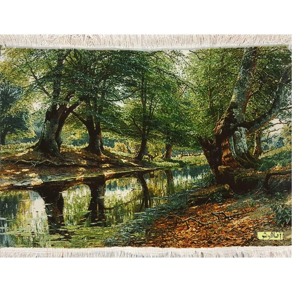تابلوفرش منظره جنگل و رودخانه