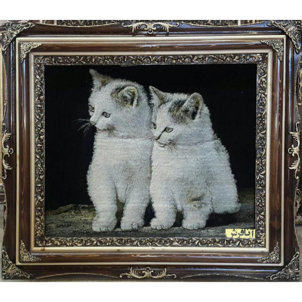 تابلو فرش دو  گربه