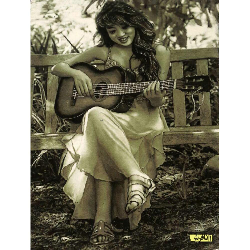 تابلو فرش دختر گیتاریست