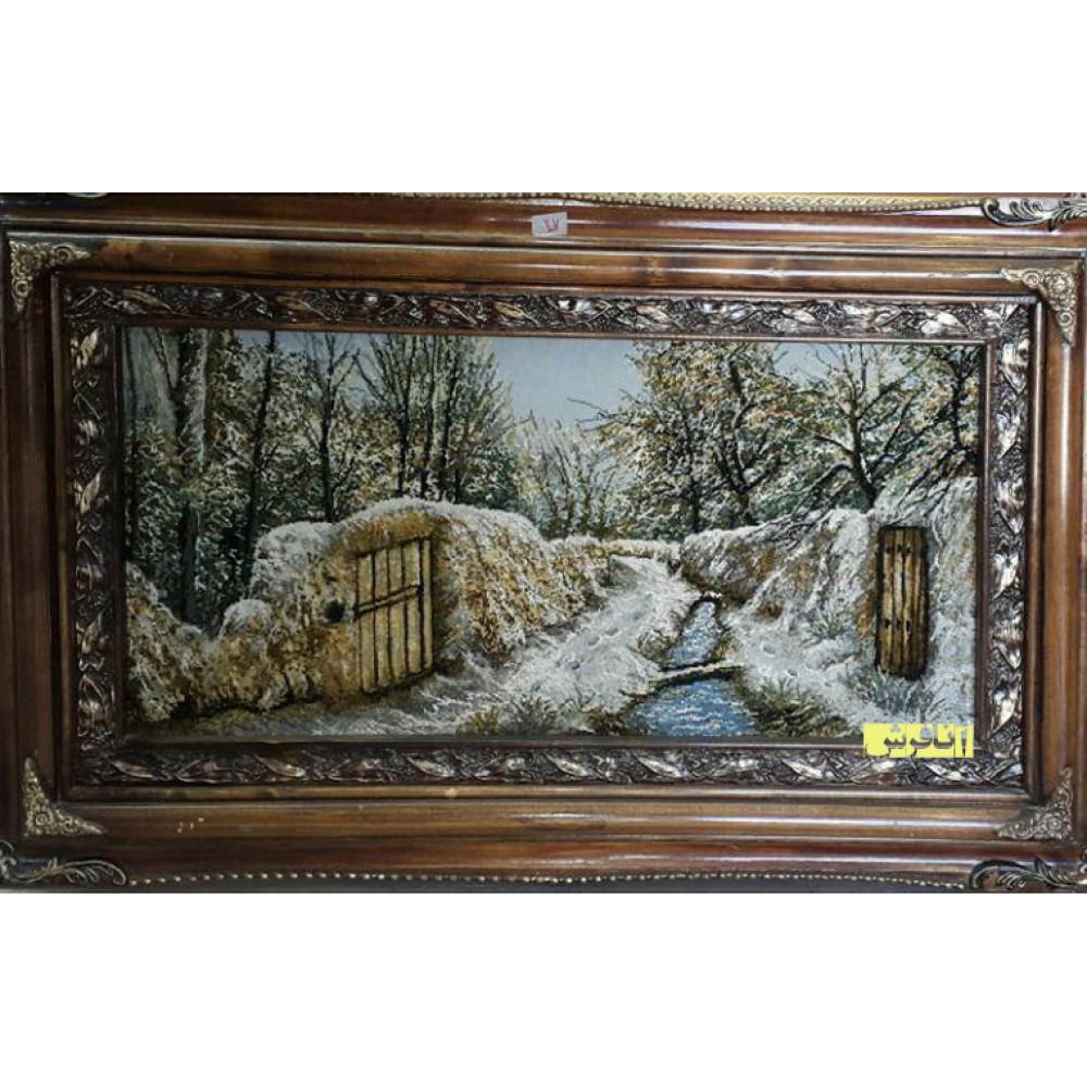 تابلو فرش کوچه باغ زمستان