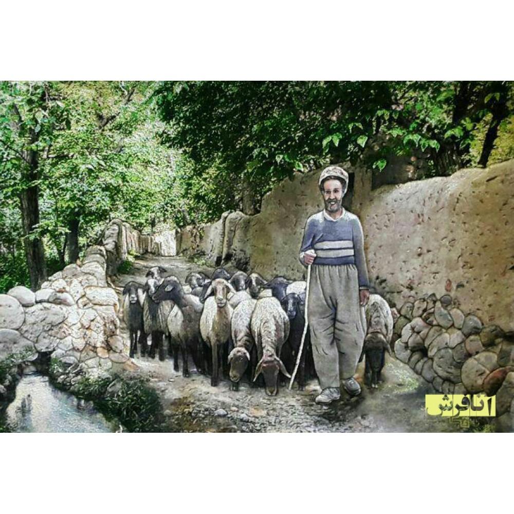 تابلوفرش دستباف  چوپان و گله گوسفندان