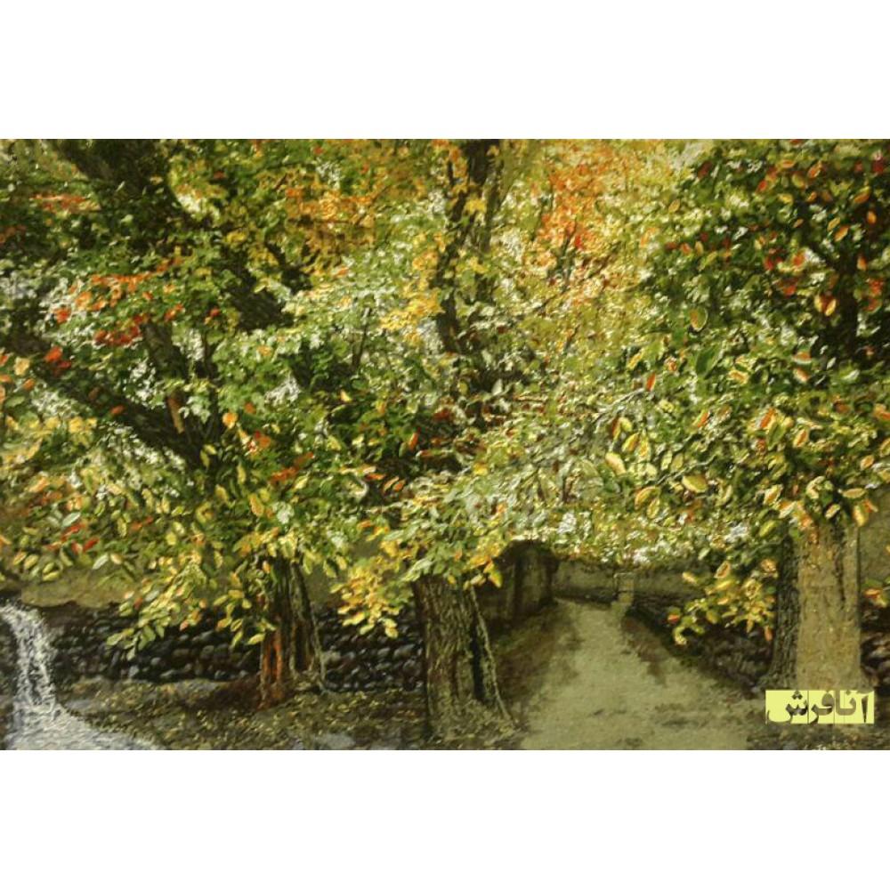 تابلو فرش کوچه باغ پاییزی