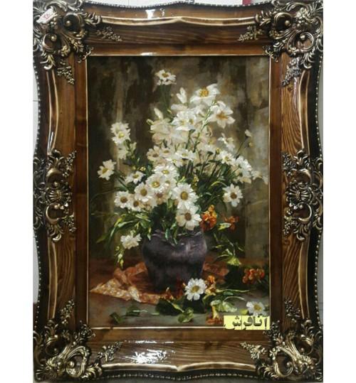 تابلوفرش گل بابونه و گلدان سفال
