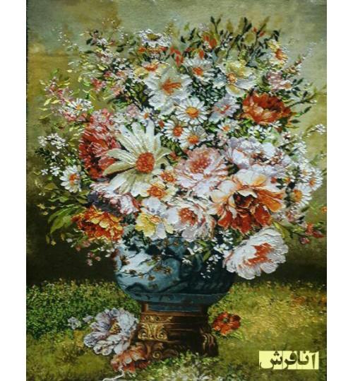 تابلوفرش گل وحشی گلدان آبی