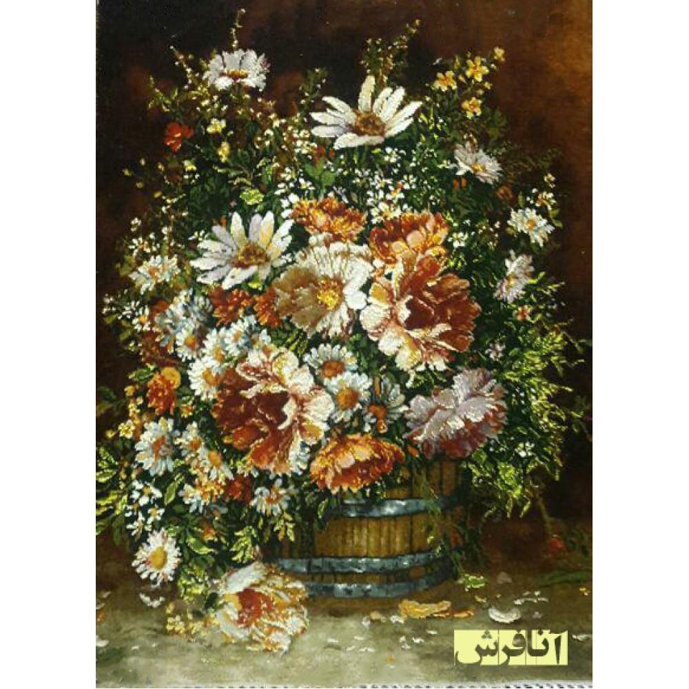 تابلوفرش دستباف گل سطل دار