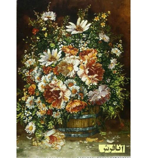 تابلوفرش گل سطل دار
