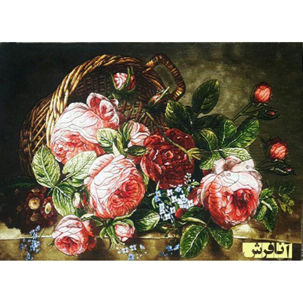 تابلوفرش دستباف  سبد گل قرمز ریخته