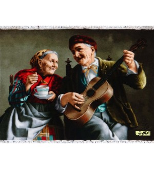 old man and old woman musician tableau carpets