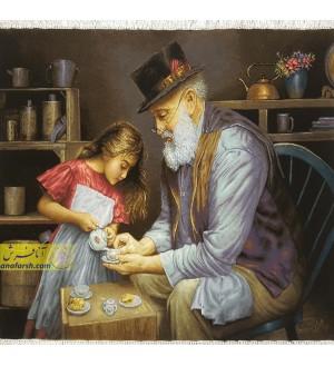 تابلو فرش پیرمرد و دختر