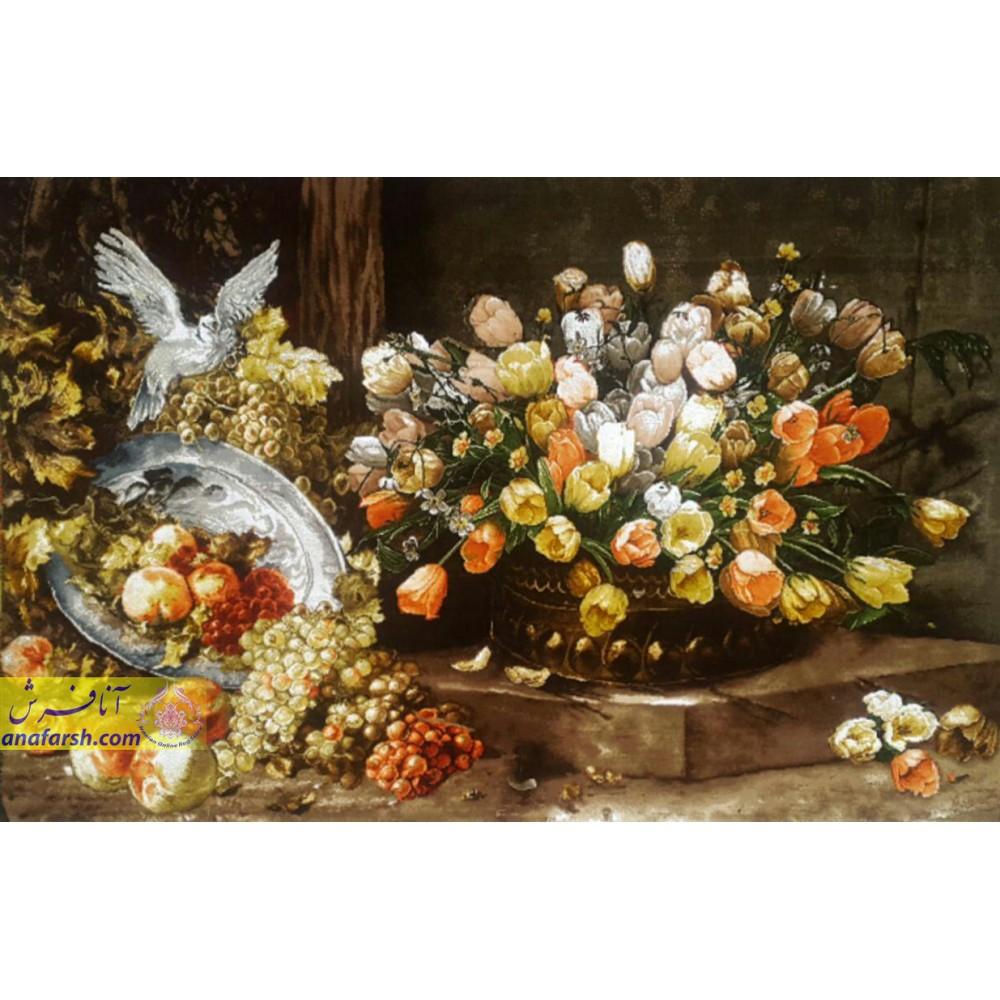 تابلوفرش گل و کبوتر