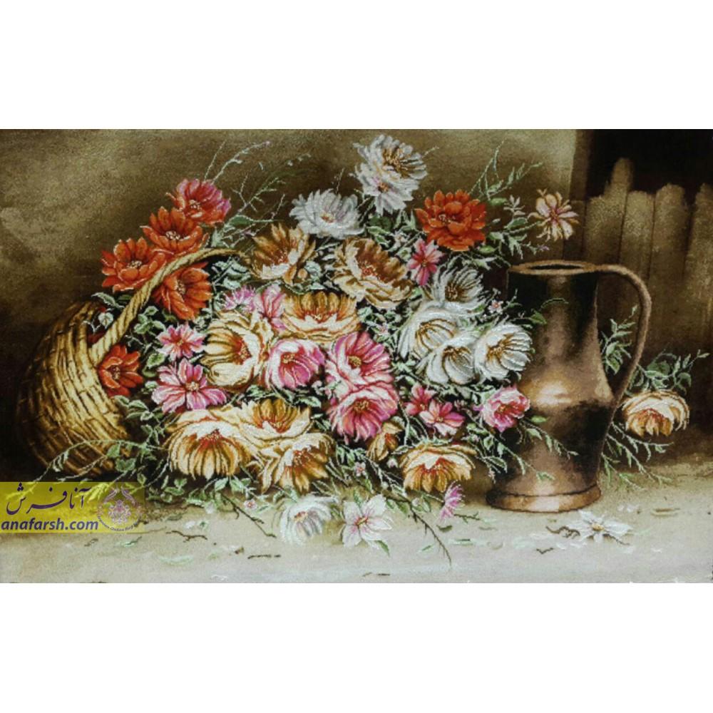 تابلوفرش دستباف گل و کوزه