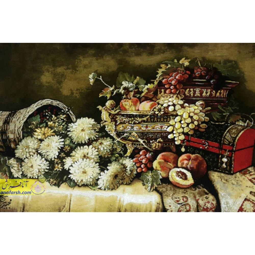 تابلوفرش گل و میوه صندو دق دار