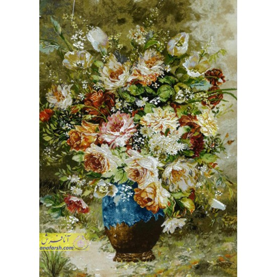تابلوفرش گل و گلدان سفالی جنگل