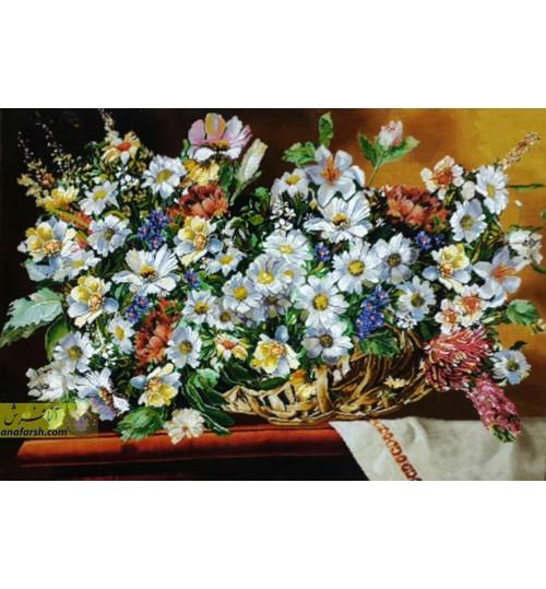 تابلوفرش گل بابونه رومیزی