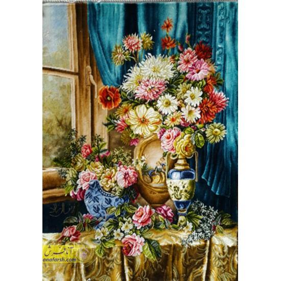 تابلوفرش گل پرده