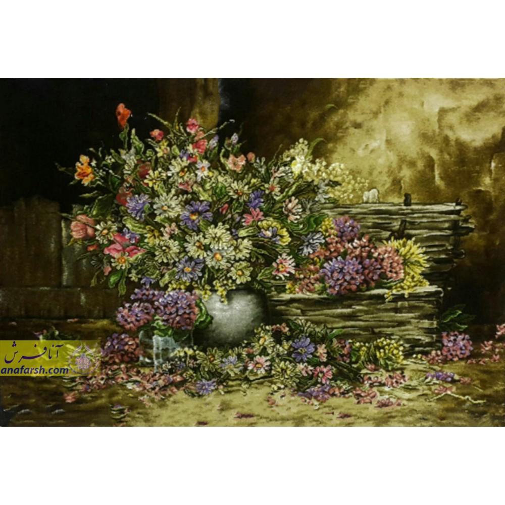 تابلوفرش دستباف گل  و گدان سفال