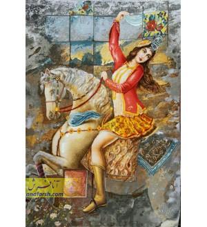 تابلو فرش دختر قاجار اسب سوار