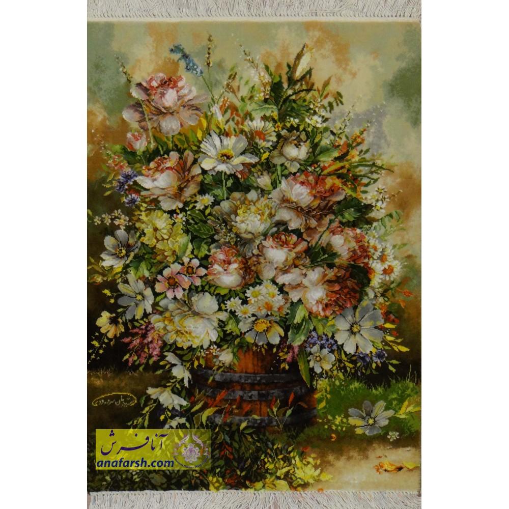 تابلوفرش دستباف گل و گلدان چوبی
