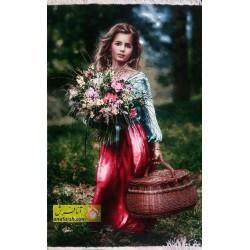 تابلو فرش دختر گل فروش