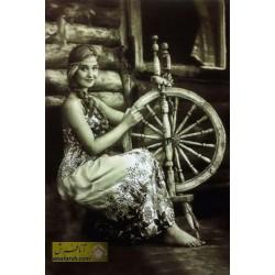تابلوفرش دختر ریسنده
