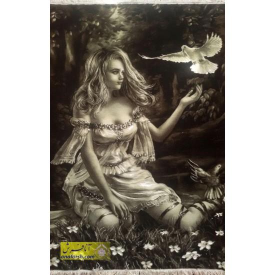 تابلو فرش دختر یگانه جنگل