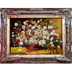 تابلوفرش گل لاله رومیزی