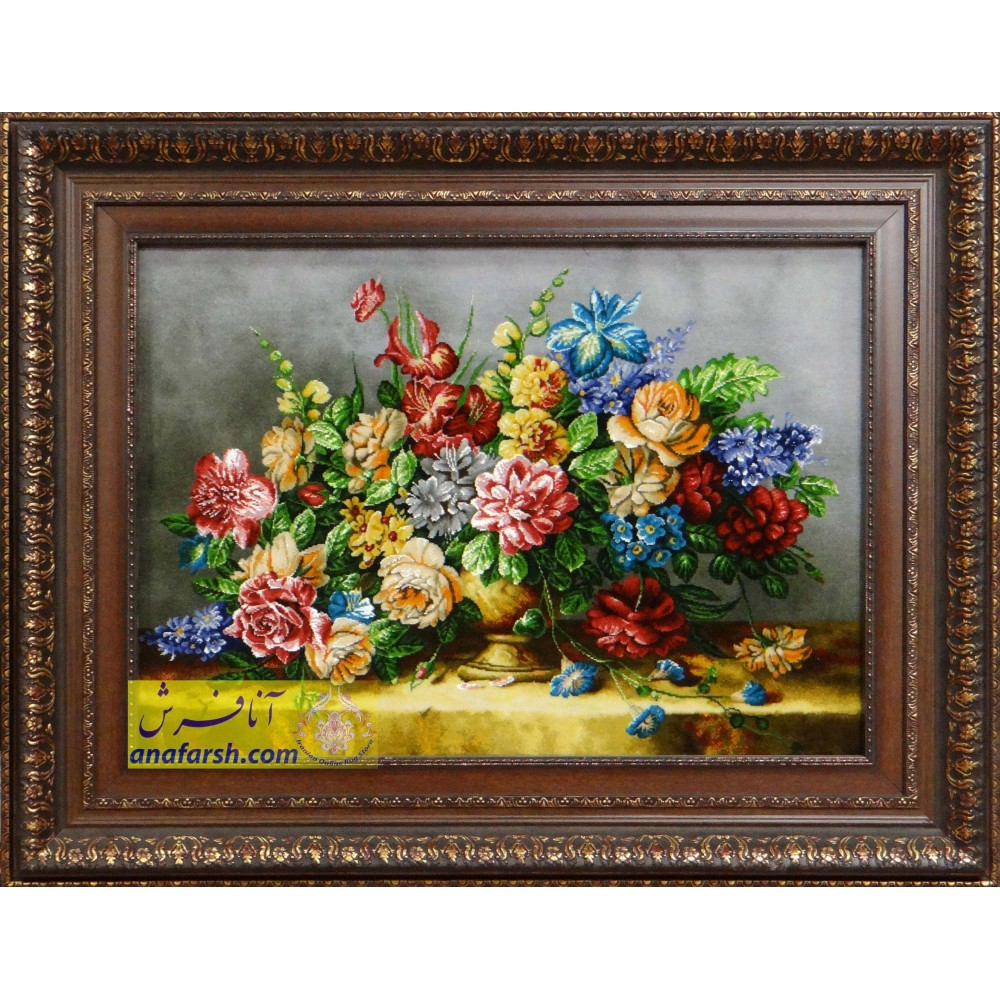تابلوفرش دستباف  گل و گلدان طلایی