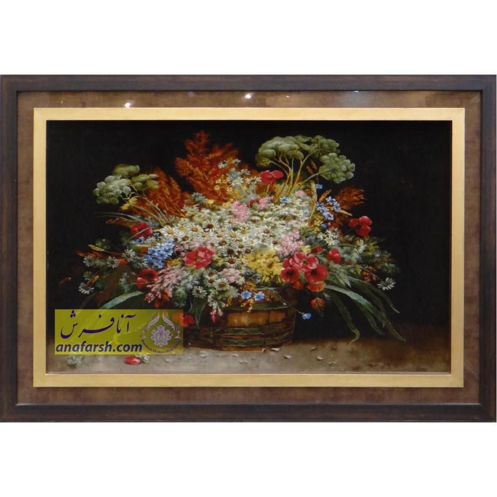 تابلوفرش دستباف گل و گلدان