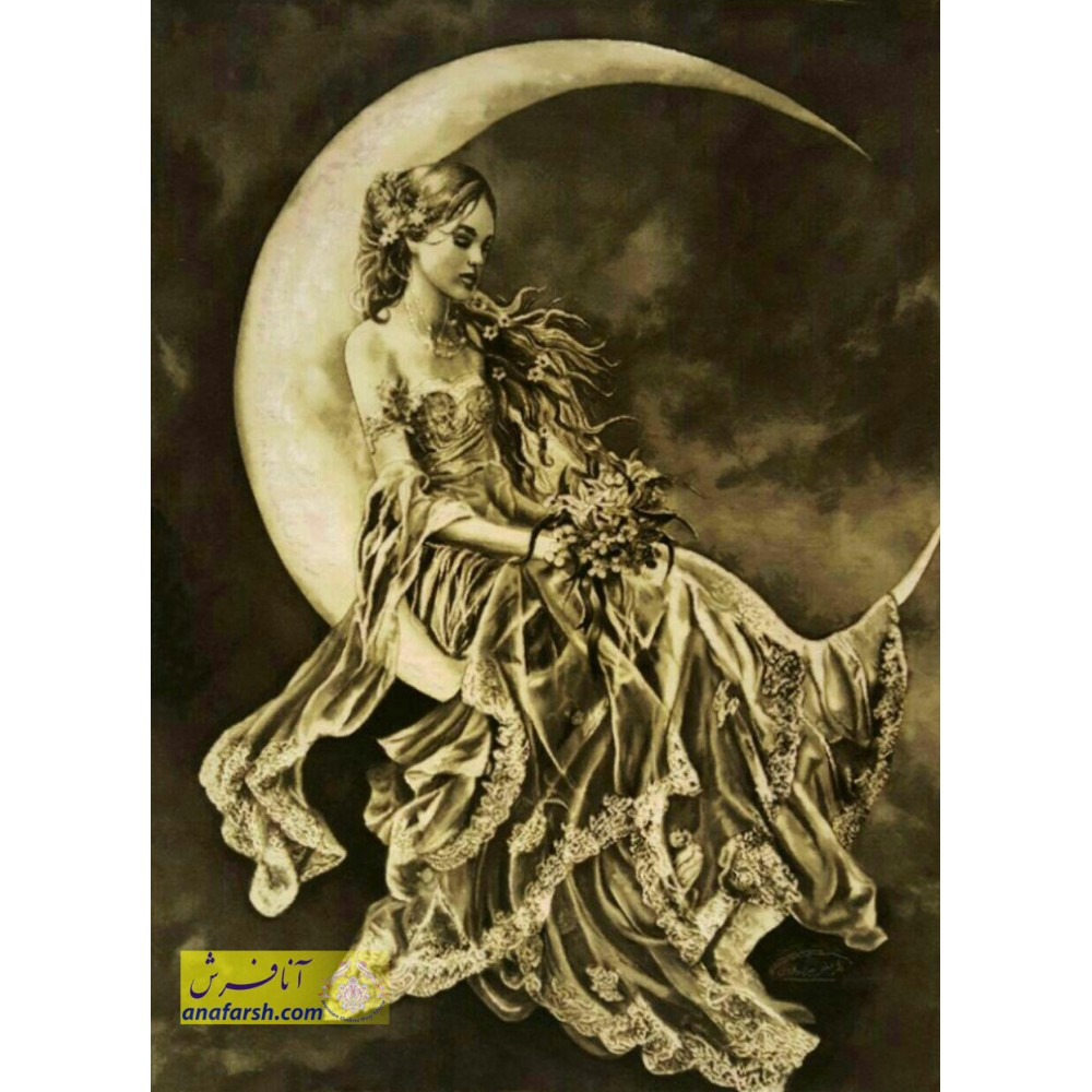 تابلو فرش دختر ماه دستباف تبریز