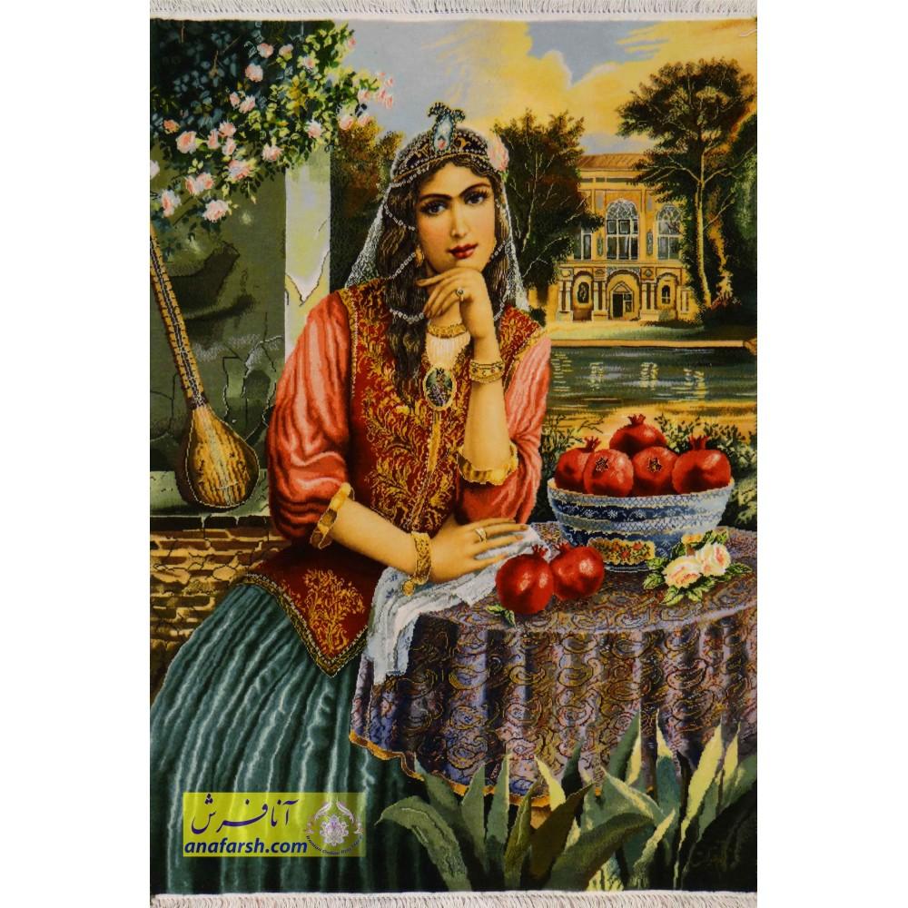 تابلو فرش دختر قاجار دستباف تبریز