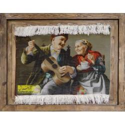 تابلو فرش پیرمرد و پیرزن نوازنده