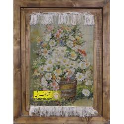 تابلوفرش گل و گلدان چوبی
